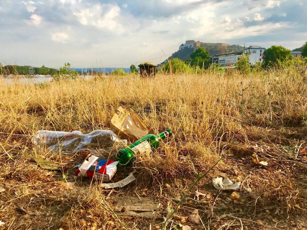 Müll in der Natur in Koblenz