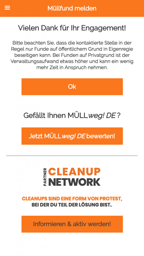 Müllweg App in der Cleanup Network Edition