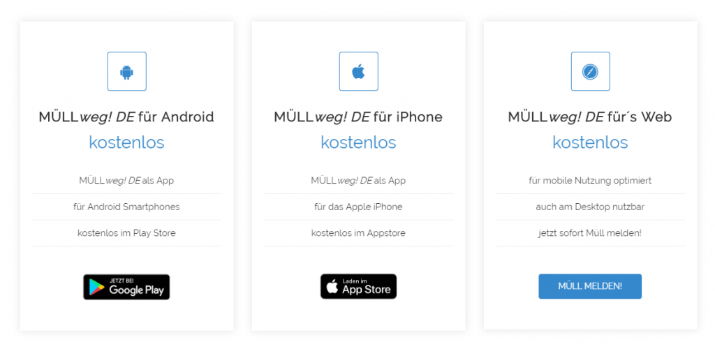 MÜLLweg DE Apps und WebApp