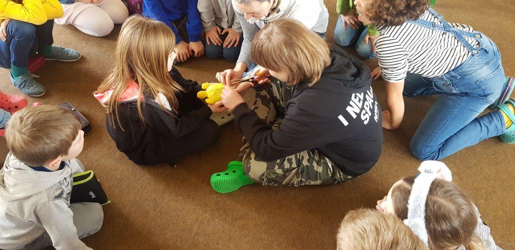 Grundschüler entfernen Plastik aus Schildkrötenmagen