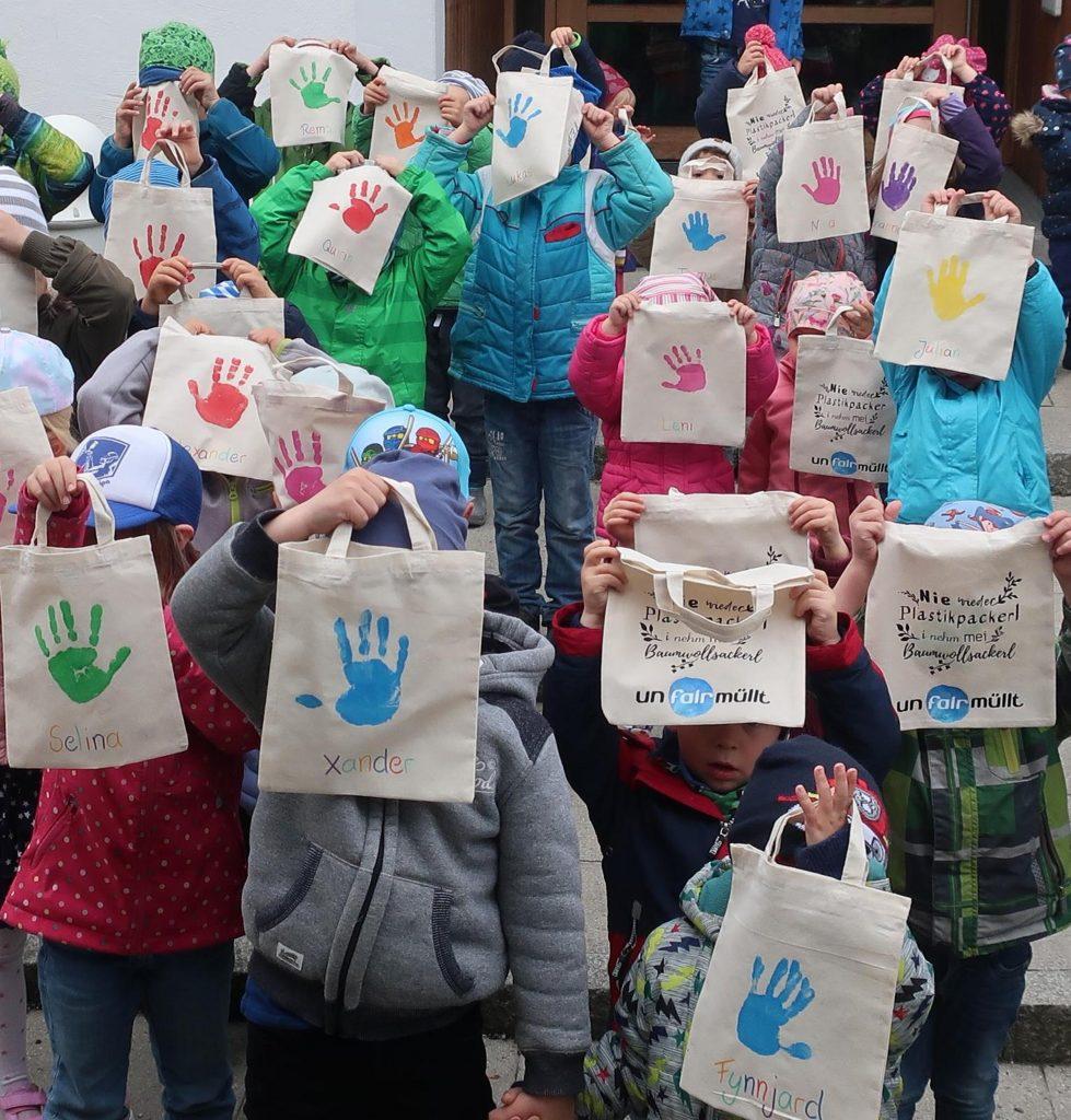 unfairmüllt - plastiksackerl - kindergarten